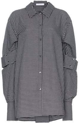 Delada double sleeve check cotton shirt