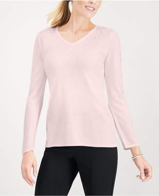 Karen Scott Pearlized-Bead Trim Sweater