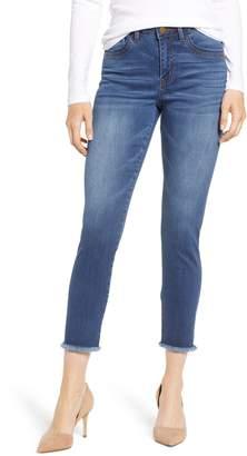 Wit & Wisdom High Waist Fray Hem Skinny Ankle Jeans