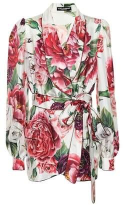 Dolce & Gabbana Floral silk wrap jacket
