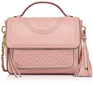 Tory Burch Shell Pink Fleming Leather Satchel Bag W/shoulder Strap