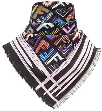 Fendi logo square scarf