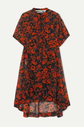 McQ Tie-detailed Pintucked Floral-print Silk-chiffon Dress - Orange