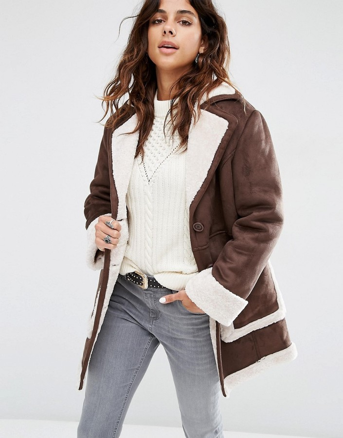 Asos ASOS Vintage Style Faux Shearling Coat
