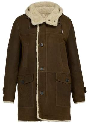 Yves Salomon Hooded Shearling Lined Leather Coat - Mens - Brown
