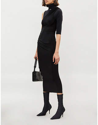 Off-White One-sleeved stretch-jersey dress