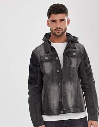 Brave Soul Washed Black Jersey Hood Denim Jacket