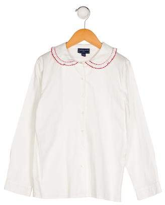 Papo d'Anjo Girls' Collared Long Sleeve Top