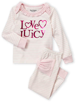 Juicy Couture Newborn Girls) Two-Piece Stripe Long Sleeve Ruffle Tee & Leggings Set