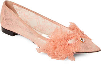 Rochas Coral Lace Pointed Toe Flats