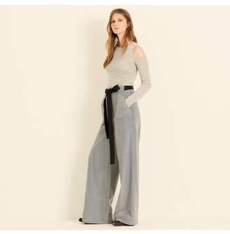 Amanda Wakeley Grey Cold Shoulder Cashmere Top
