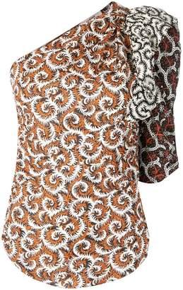 Etoile Isabel Marant printed one shoulder top