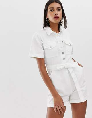 Neon Rose utility playsuit with belt in denim