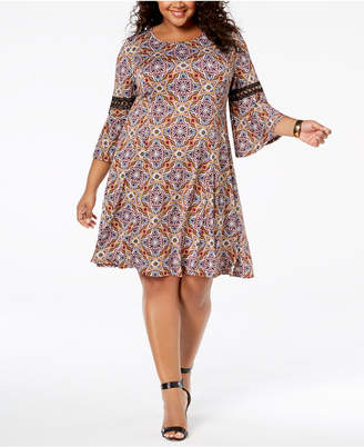 NY Collection Plus Size Paisley-Print Swing Dress