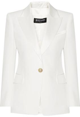 Balmain - Crepe Blazer - Off-white $1,790 thestylecure.com