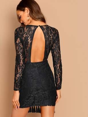 Shein Sheer Yoke Tassel Detail Lace Dress