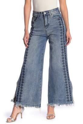 Love + Harmony Embroidered Frayed Hem Jeans