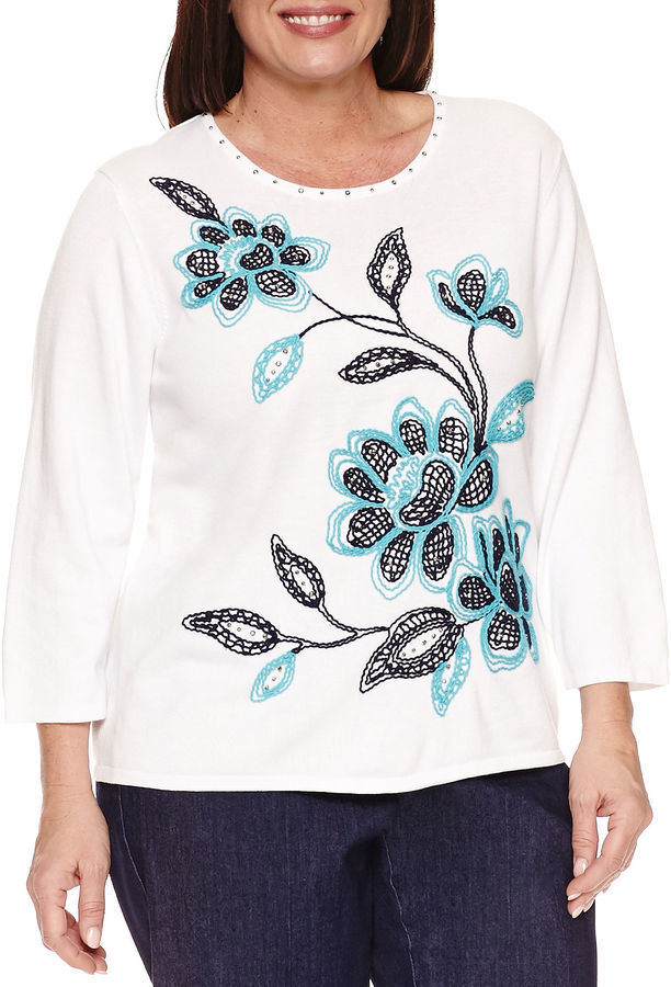 Alfred DunnerAlfred Dunner 3/4 Sleeve Crew Neck Pullover Sweater-Plus