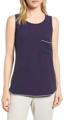 Eileen Fisher Piped Silk Tank