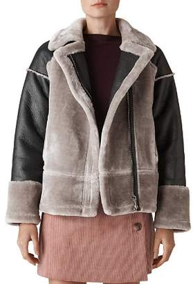 Whistles Faux Shearling Biker Jacket