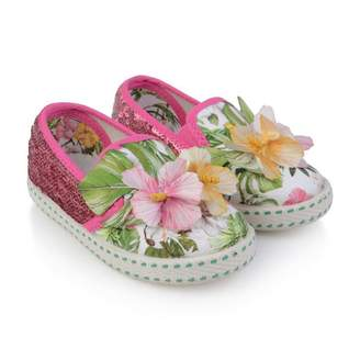MonnaLisa MonnalisaHibiscus Applique Slip On Shoes