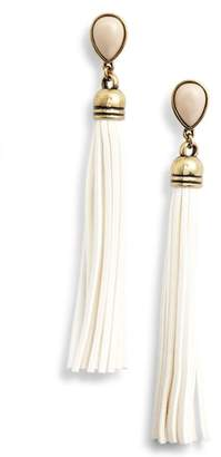 Adia Kibur Faux Suede Tassel Earrings