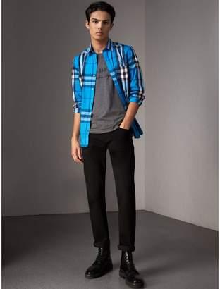 Burberry Check Stretch Cotton Shirt , Size: XXXL, Blue