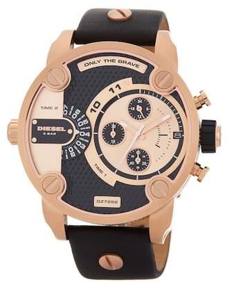 Diesel Men's Little Daddy Leather Strap Watch, 51mm