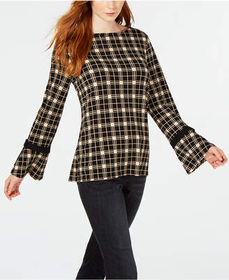 Charter Club Plaid Bell-Sleeve Top