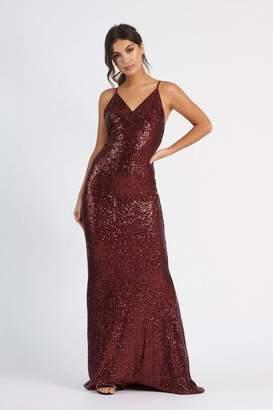 Club L **Sequin Cross Back Fishtail Maxi Dress