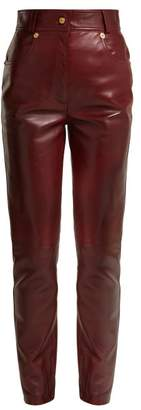 Versace Medusa Buttoned Leather Trousers - Womens - Brown