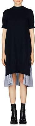 Sacai Women's Cotton-Blend Open-Back Dress - Navy