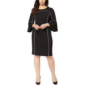Calvin Klein Women's Plus Size Bell Sleeve Dress with Binding