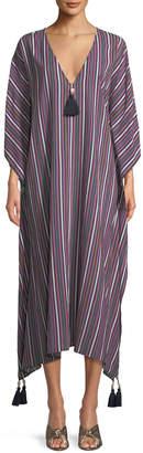 Figue Eliza Striped Caftan Dress with Tassels