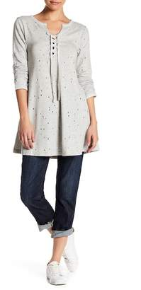 Dance and Marvel Lace-Up Distressed Knit Tunic