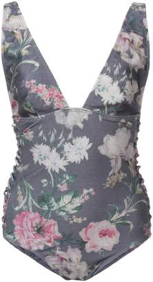 Zimmermann side lace floral one-piece