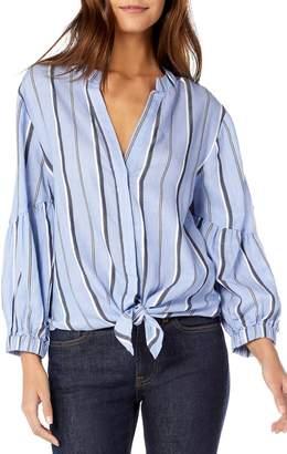 Michael Stars Stripe Shirting Tie Front Cotton Blouse