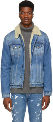 Frame Blue Sherpa Denim Jacket