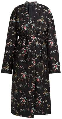Haider Ackermann Freesia Floral Print Quilted Single Breasted Coat - Womens - Black Multi