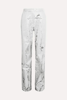 MATÉRIEL Space Metallic Coated Crepe Straight-leg Pants - Silver