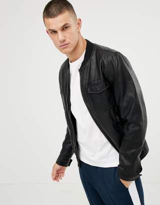 Benetton faux leather bomber jacket