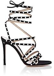 Gianvito Rossi Women's Embellished Suede Ankle-Wrap Sandals - Black