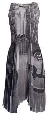 Akris Women's Magnet Print Plissé Dress - Grey - Size 8