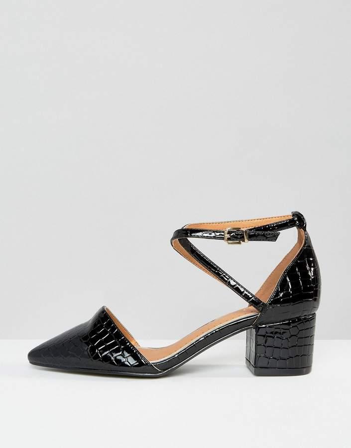 Raid Avia Black Croc Point Mid Heeled Shoes