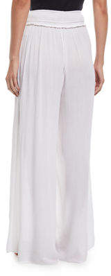 Joan Vass Smocked-Waist Wide-Leg Pants