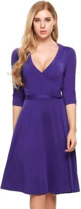 Meaneor Women Deep V Neck High Slit Dress Ladies Wrap Midi Dress WR_XXL
