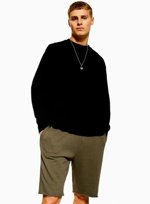 Topman Khaki Long Jersey Shorts