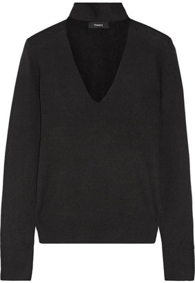 Theory - Cutout Silk-blend Turtleneck Sweater - Black $285 thestylecure.com