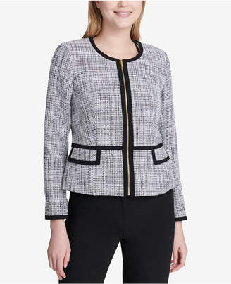 Calvin Klein Tweed Zip-Up Frame Jacket