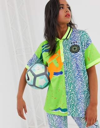 Asos 4505 4505 football t-shirt with collar in spliced pattern